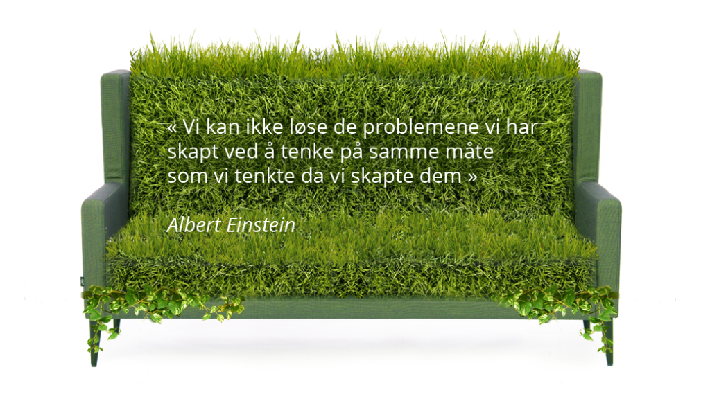 Miljø sofa med sitat